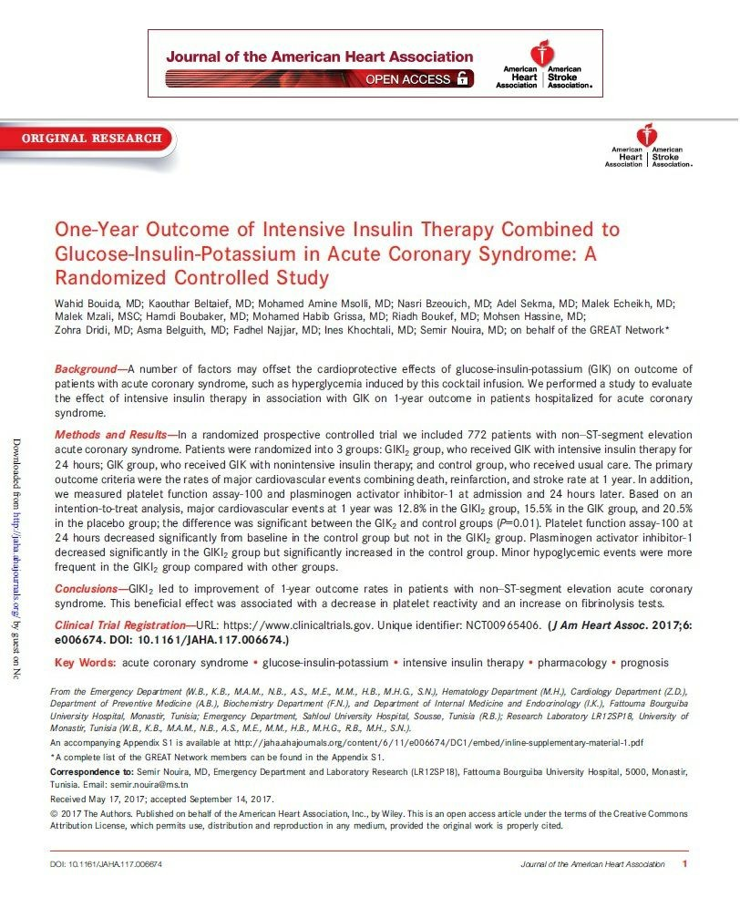 One-Year Outcome of Intensive Insulin Therapy Combined to Glucose-Insulin-Potassium in Acute Coronary Syndrome: A Randomized Controlled Study.