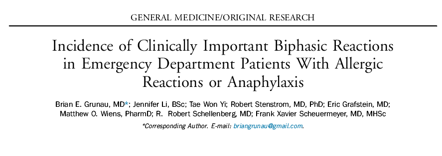 Incidence of Clinically Important Biphasic Reactions in Emergency Department Patients With Allergic Reactions or Anaphylaxis.