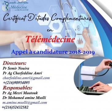 Appel à Candidature pour le 1 er CEC Télémédecine pour l'année Universitaire 2018-2019
