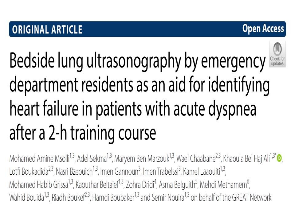 Bedside lung ultrasonography by emergency department residents as an aid for identifying heart failure in patients with acute dyspnea after a 2-h training course